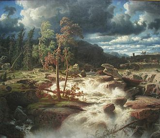 Marcus Larson - Vattenfall i Småland (1856; English: Waterfall in Småland) is Larson's most famous painting and is located at the National Museum of Fine Arts.