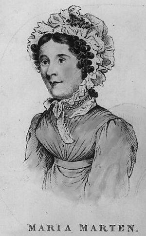 Red Barn Murder - Maria Marten; her sister Ann, who was said to be very similar to Maria, was the model for this sketch which appeared in Curtis' account of the case