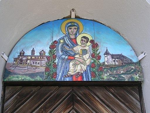 Maria mit Kind, Email-Bild von Br. Bernward Schmid OSB, Wallfahrtskirche Maria Schnee auf der Hochalm