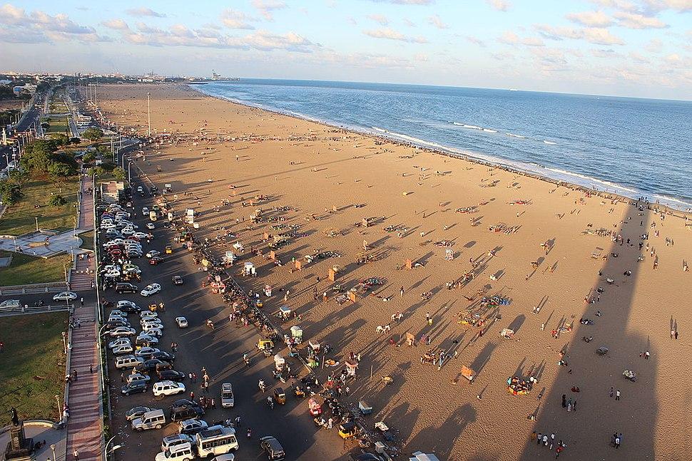 Marina Beach in Chennai as seen from Light house