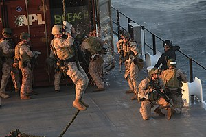 Marine Raider Regiment - Marine Raiders with the 1st Marine Special Operations Battalion fast-rope from a CH-47 helicopter during Visit, Board, Search and Seizure (VBSS) training with the 160th Special Operations Aviation Regiment near Camp Pendleton, Calif. MARSOC Marines train extensively in VBSS and gas/oil platform raiding