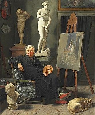 Christian August Lorentzen - Martinus Rørbye: C. A. Lorentzen in his studio, painted before 1828