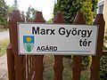 Marx Square sign, Agárd, 2017 Gárdony.jpg