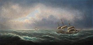 HMS Resolution, Captain Jas Cook, and HMS Adventure, Captain Furneaux, off Cape Palliser, New Zealand, in 1773