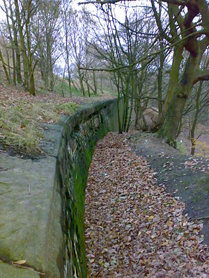 Manchester Bolton & Bury Canal - Reinforcements along the Bury arm help keep the canal bank from sliding down the valley.