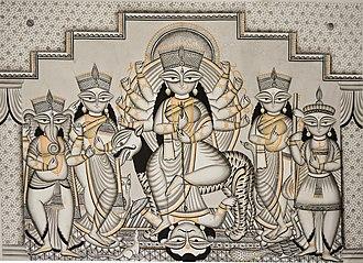 Pattachitra - Goddess Durga and his family in Medinipur Patachitra