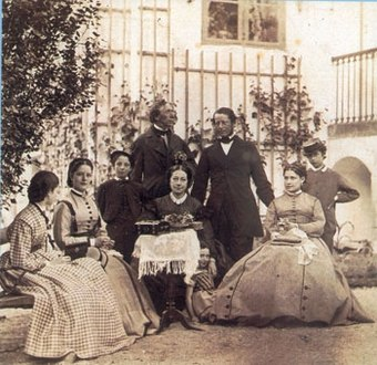 Andersen at Rolighed: Israel Melchior (c. 1867) Melchior Family Group Rolighed c. 1867.jpg