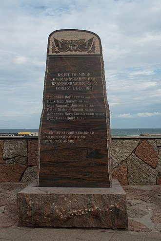 Hirtshals - Memorial in Hirtshals to the crew of lifeboat RF 2, sunk in 1981