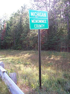 Menominee County, Michigan - Road sign