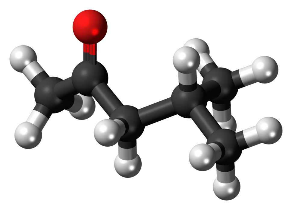 Ball-and-stick model of the methyl isobutyl ketone molecule