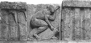 Nostos - Figure riding a sea turtle, probably depicting an ancient Greek fable similar to Ulysses' Return to the Homeland (Nostos)