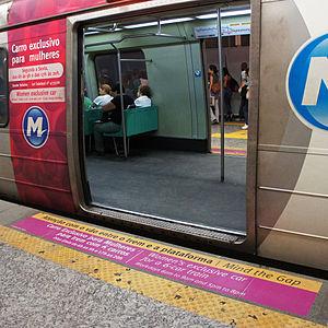 Women-only passenger car - A women-only subway car at Rio de Janeiro Metro.
