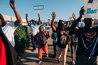 Ferguson unrest - Image: Middle of the crowd in Ferguson