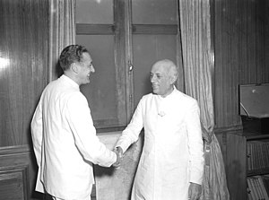 Miguel Serrano - Indian Prime Minister, Jawaharlal Nehru (right) greeting the Chilean Ambassador-designate to India, Miguel Serrano Fernández, when the latter called on him at the Minister of External Affairs, New Delhi on May 30, 1957