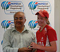 Mikaela Turik being awarded the ICC T20 Player of the Match award..jpg