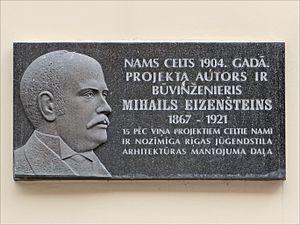 Mikhail Eisenstein - Memorial plaque on Alberta iela 4