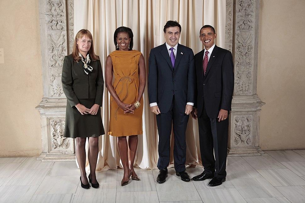 Mikheil Saakashvili with Obamas