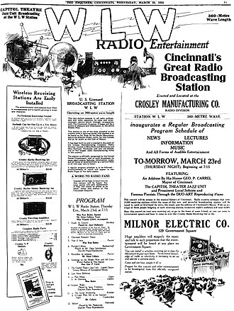 "WLW - WLW held its debut broadcast on March 23, 1922. Crosley brand ""Harko"" receivers were available for purchase to listen to the programs."