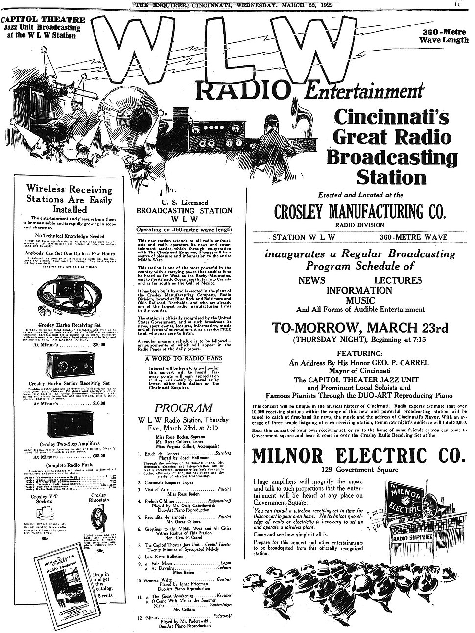Milnor Electric advertisement for WLW radio debut (1922)