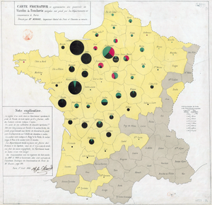 Charles Joseph Minard - Minard's map using pie charts to represent the cattle sent from all around France for consumption in Paris (1858).