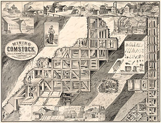 "Comstock Lode - ""Mining on the Comstock"", depicting the headframes and mills of the various mines, and mining technology used at Comstock, most prominently the method of square-set timbering developed there to work the veins."