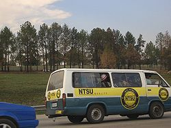 A full minibus taxi.