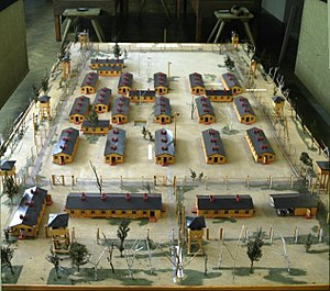 model of the Stalag Luft III compound at the museum nearby