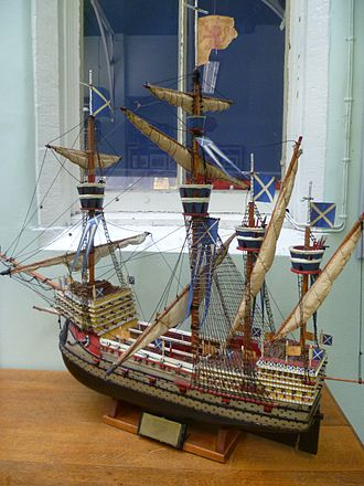 Royal Scots Navy - A model of the Great Michael, the largest ship in the world when launched in 1511
