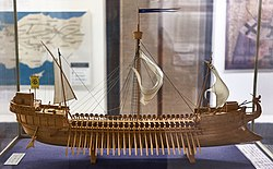 Model of a Byzantine warship (dromon) at Athens War Museum on 12 April 2019.jpg