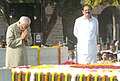 Mohd. Hamid Ansari paying homage at the Samadhi of Mahatma Gandhi on his 146th birth anniversary, at Rajghat, in Delhi. The Union Minister for Urban Development.jpg