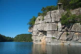 Shawangunk Formation - Cliff shaped by glacial movement surrounding the Mohonk Lake at Mohonk Mountain House on Shawangunk Ridge