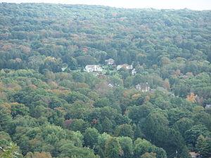 Montebello, New York - Overhead View of Montebello From Nearby Mountains