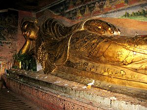 Reclining Buddha - The reclining Buddha of the Hpo win caves