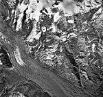 Mount Spurr, unnamed mountain glacier, terminus of glacier turning into a rock glacier, September 22, 1992 (GLACIERS 6890).jpg