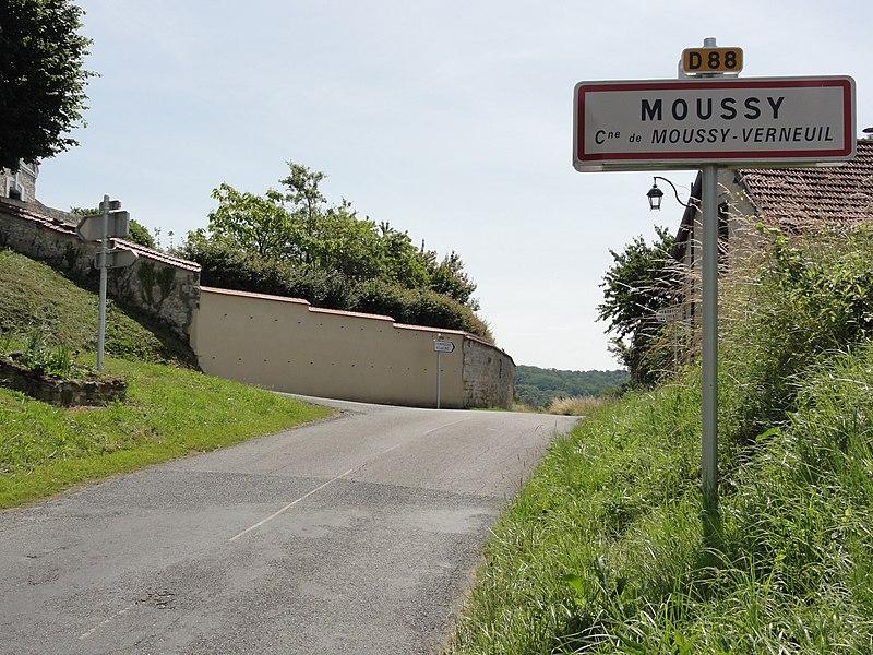 Moussy-Verneuil (Aisne) city limit sign Moussy