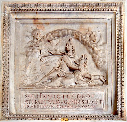 The cult of Mithras was gradually absorbed within Imperial solar monism: sol Invictus is to the left of picture. The plaque was commissioned by an evidently wealthy Imperial slave. Vatican Museum. Musei Vaticani - Mithra - Sol invictus 01136.JPG