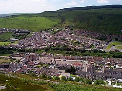 Mynydd Y Dinas to Penrhiwfer with Williamstown school at centre - geograph.org.uk - 1347103.jpg