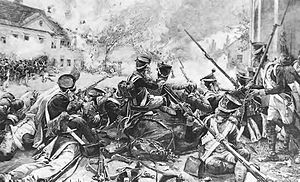Battle of Aspern-Essling - Fighting in the streets of Essling. Beleaguered French infantry exchanges fire with Austrian troops in the distance.
