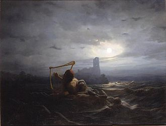Neck (water spirit) - The Neck and Ægir's daughters (1850) by Nils Blommér