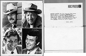 McCloud (TV series) - The NBC Sunday Mystery Movie program worked on a rotating basis – one per month from each of its shows. Top left: Dennis Weaver in McCloud. Top right: Richard Boone in Hec Ramsey. Bottom left: Peter Falk in Columbo. Bottom right: Rock Hudson (photo without his later hep trademark mustache) in McMillan & Wife.