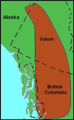 Map showing the location of a zone with related volcanoes.