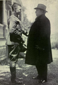 Taft says goodbye to his son, Charles Phelps Taft II as he leaves for World War I