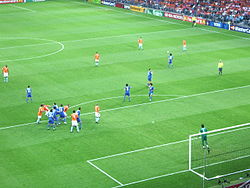 Free kick in the Italy-Netherlands match, 9 June