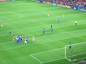 UEFA Euro 2008 Group C - A free kick in the match between Netherlands and Italy on 9 June