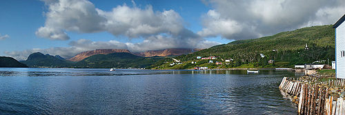 Woody Point, Western Newfoundland, Canada. Panorama of the Gros Morne National Park with the Tablelands, overlooking Bonne Bay