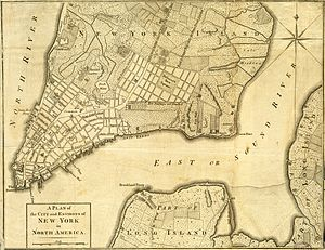 Samuel Fraunces - New York in 1776, Fraunces's tavern was at the west end of Queen Street (now Pearl Street). Vaux-Hall Gardens is at far left, above center.
