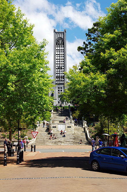 Church Steps (sometimes called the Cawthron Steps) from Trafalgar Street up to the 60's bell tower of Nelson's Christ Church Cathedral NZL-nelson-christ-church-turm.jpg