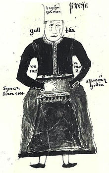 N illustration of the Norse goddess Freyja, from an Icelandic 17th century manuscript.jpg