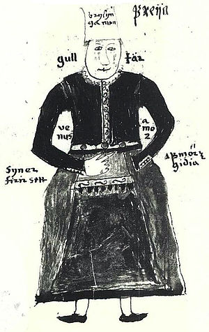AM 738 4to - Image: N illustration of the Norse goddess Freyja, from an Icelandic 17th century manuscript