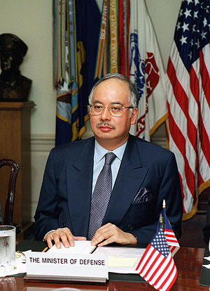 Najib Razak - Najib during a defence meeting held at The Pentagon in Washington, D.C., 2 May 2002